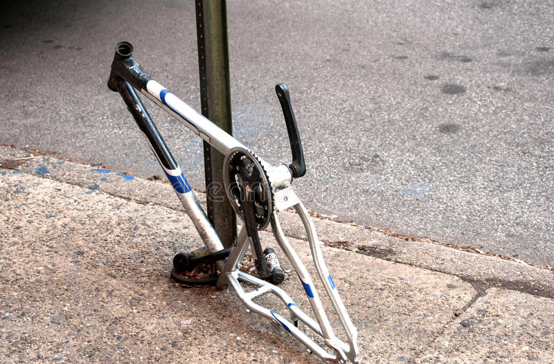 Bicycle frame with stolen parts royalty free stock photos