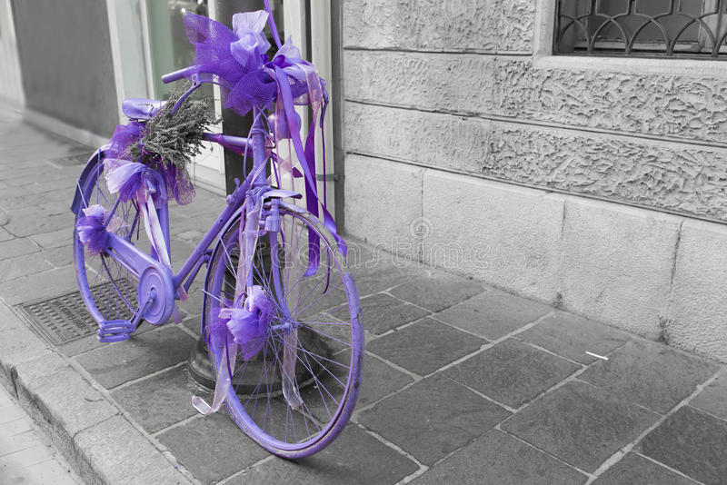 Bicycle fully painted wisteria stock photo
