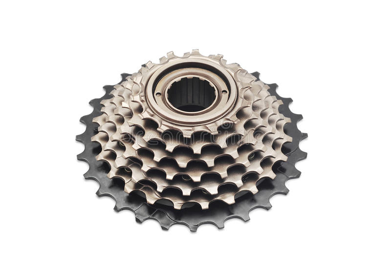 Bicycle gear cogwheel. On white royalty free stock image