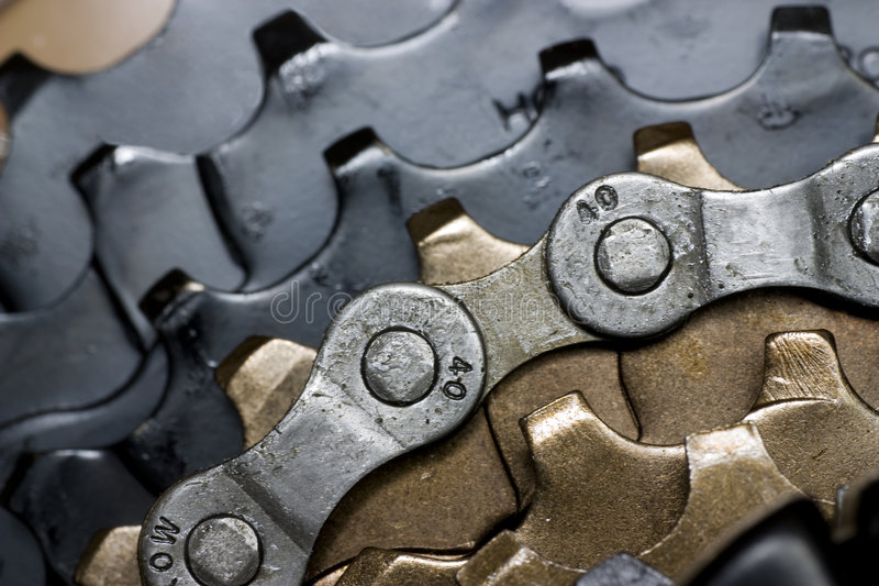 Bicycle gears. Rear bike cassette with chain close-up stock photo