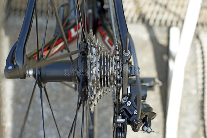 Bicycle gears and chain stock photography
