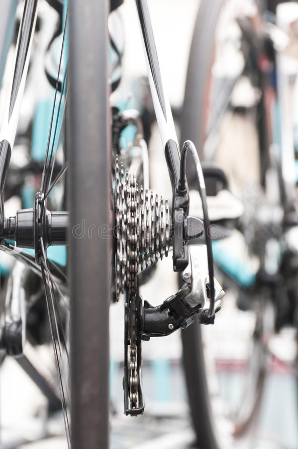 Bicycle gears. Gears and chain closeup on a professional racing bicycle stock images