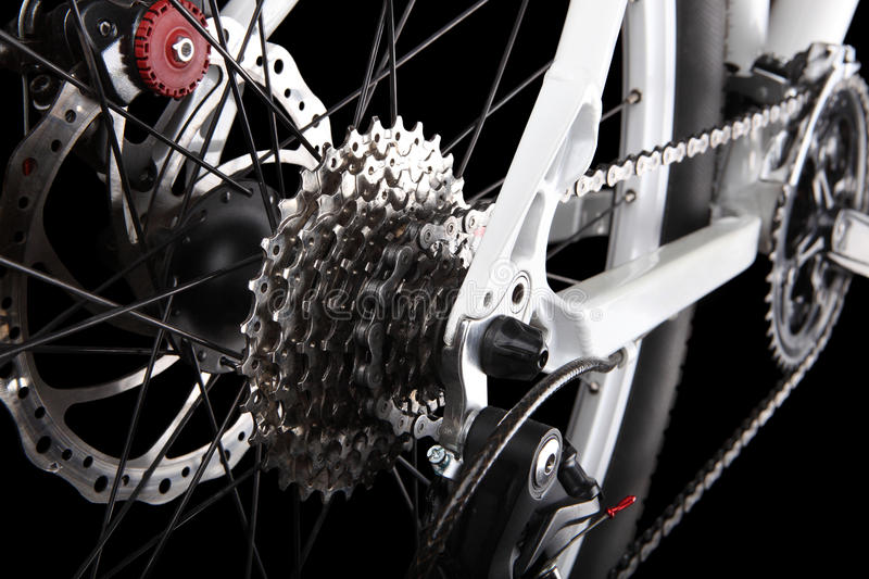 Bicycle gears, disc brake and rear derailleur stock images