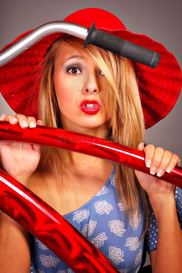 Bicycle Girl Stock Photo