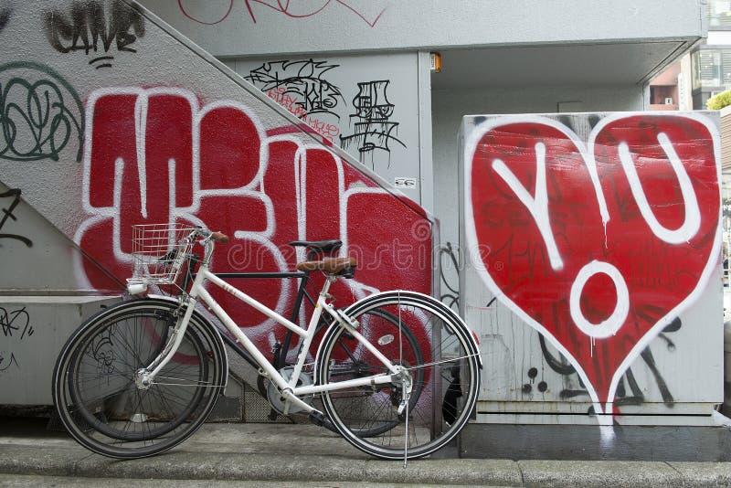 Bicycle and graffiti royalty free stock photos