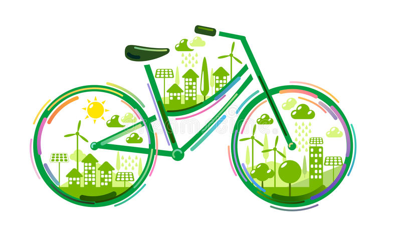 Bicycle with green city royalty free illustration