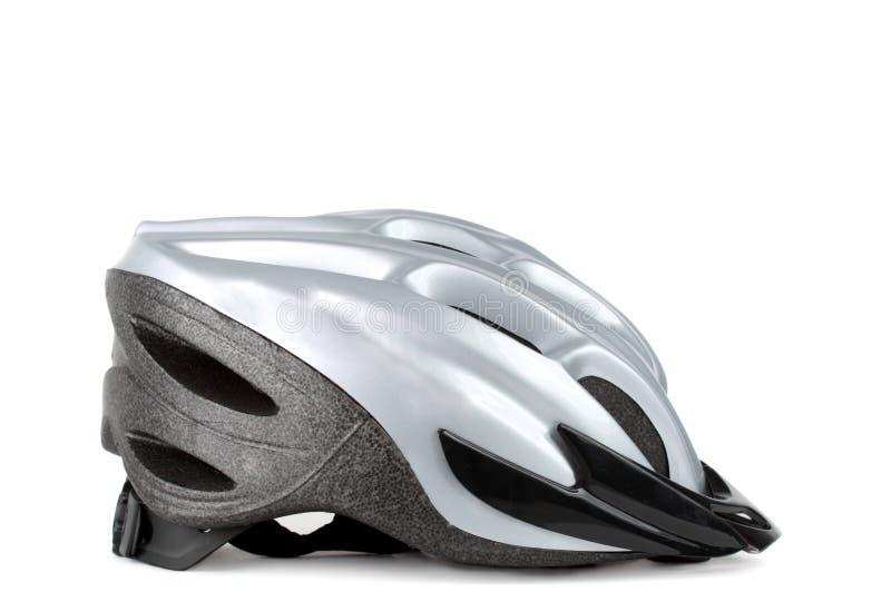 Bicycle helmet. Grey bicycle helmet isolated on white background stock image