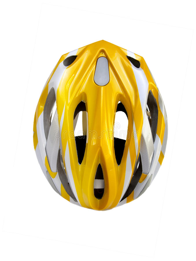 Bicycle helmet. A red brand new bicycle helmet isolated over white background stock image