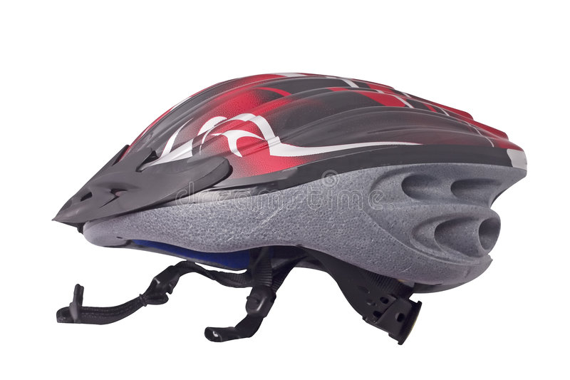 Bicycle helmet. Red and black bicycle helmet isolated on white background royalty free stock images