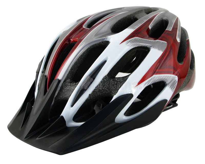 Bicycle Helmet. With sun visor isolated on white stock photos