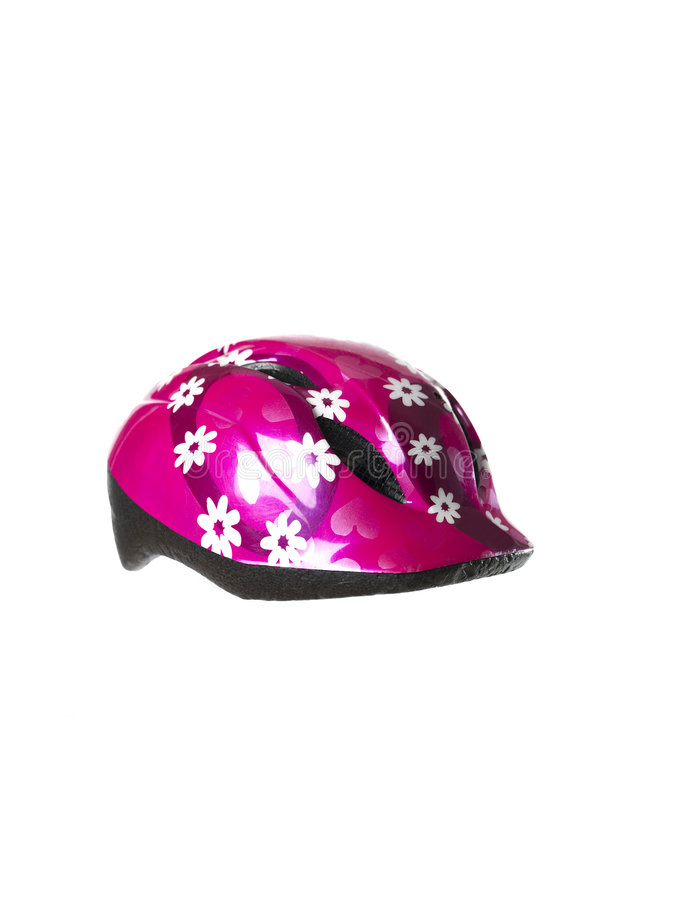 Bicycle helmet. Childrens bicycle helmet towards white background royalty free stock photography