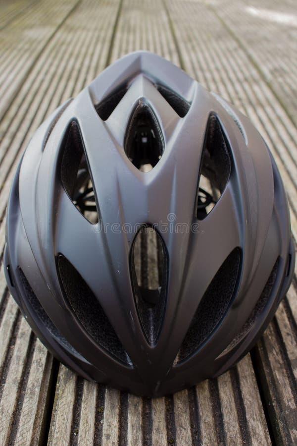 Bicycle Helmet. Close up of black bicycle helmet stock photography
