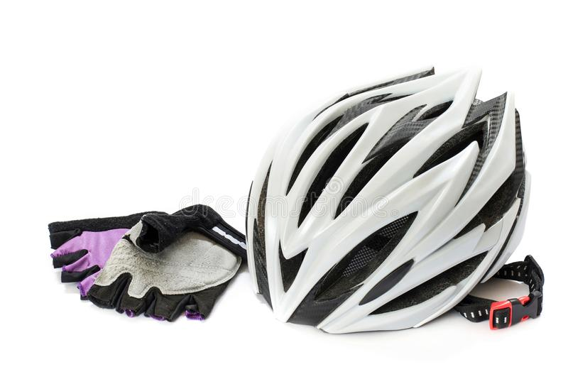 Bicycle helmet and gloves. On a white background stock photography