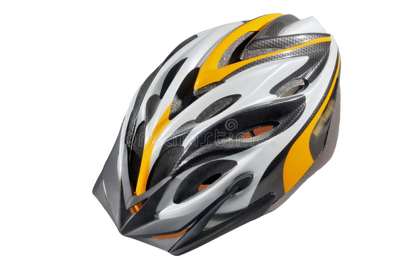 Bicycle helmet. Gray-yellow bicycle helmet on a white background royalty free stock photos