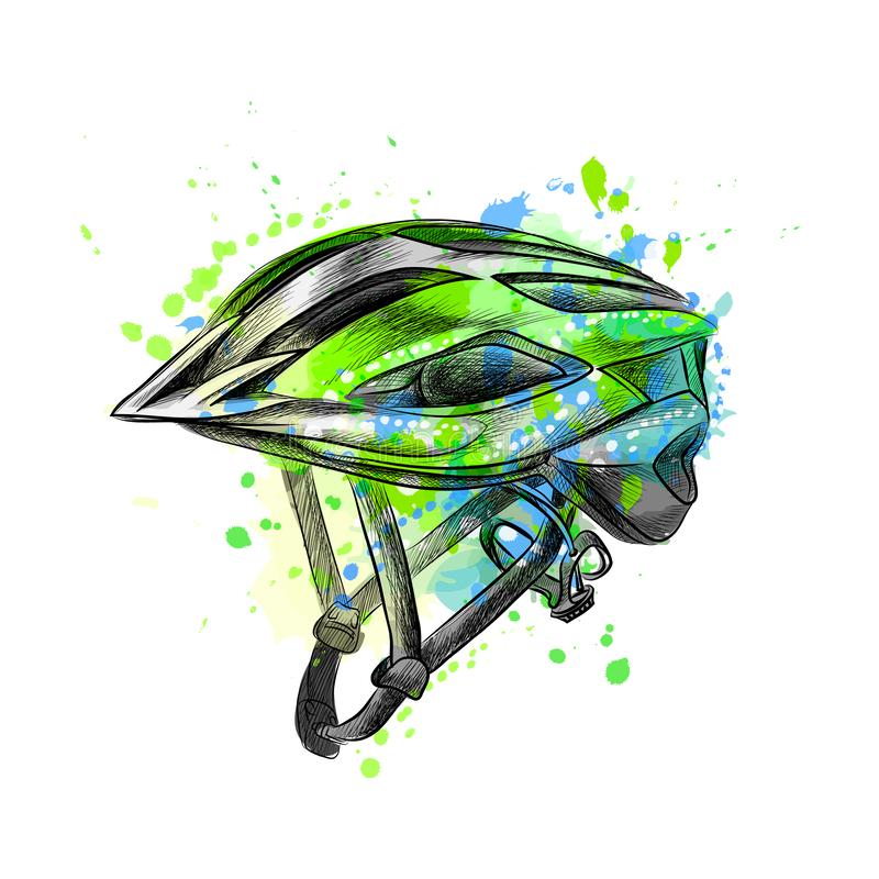 Bicycle helmet from a splash of watercolor, hand drawn sketch vector illustration