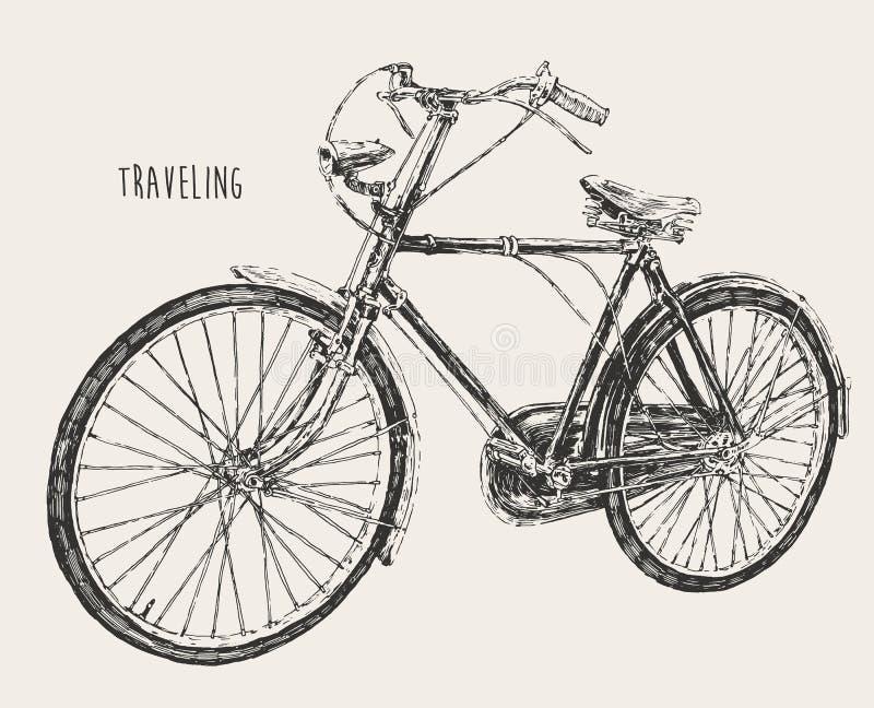Bicycle High Detail Traveling Engraving Vintage. Vector illustration hand drawn stock illustration