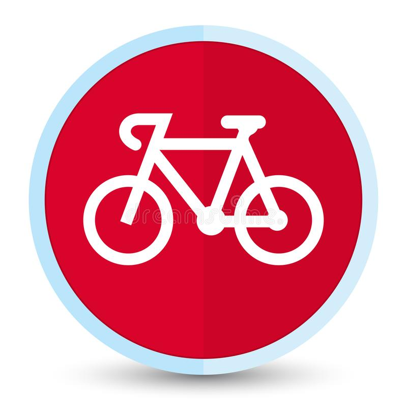 Bicycle icon flat prime red round button vector illustration