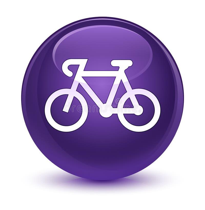 Bicycle icon glassy purple round button stock illustration