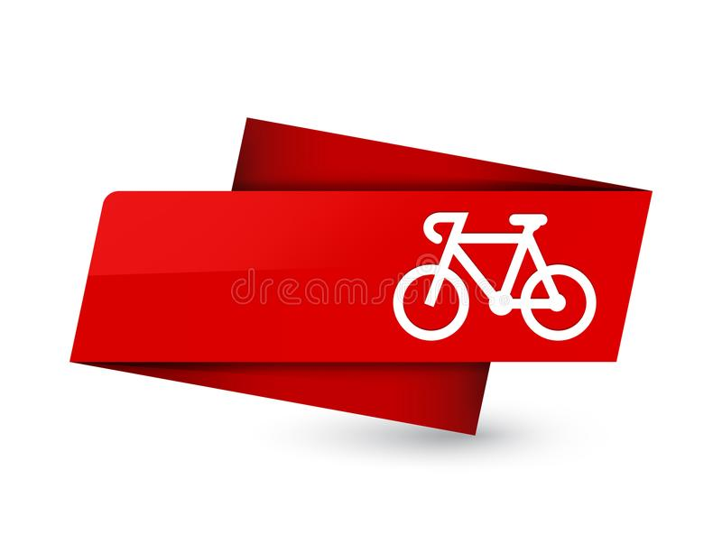 Bicycle icon premium red tag sign stock illustration