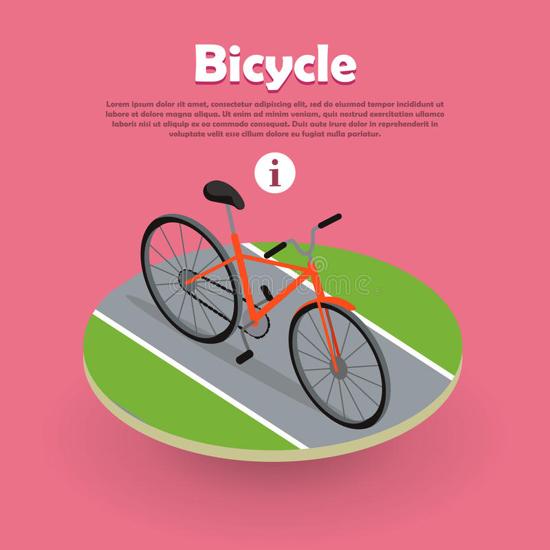 Bicycle Icon Isometric Design on Road Web Banner. stock illustration