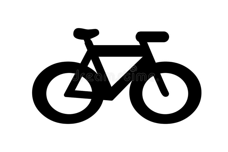 Bicycle icon logo on white background. Simple, drive, element, sign, symbol, cartoon, creative, new, sport, activities, vehicle, race, bike, silhouette royalty free stock photos