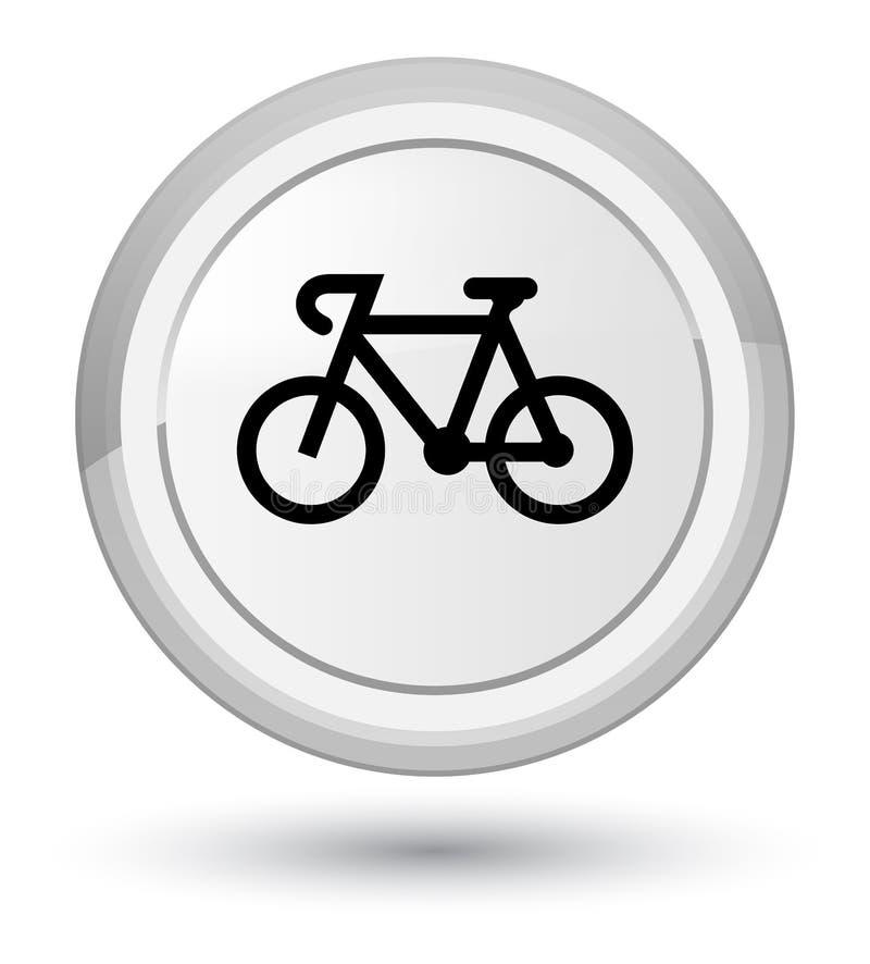Bicycle icon prime white round button stock illustration