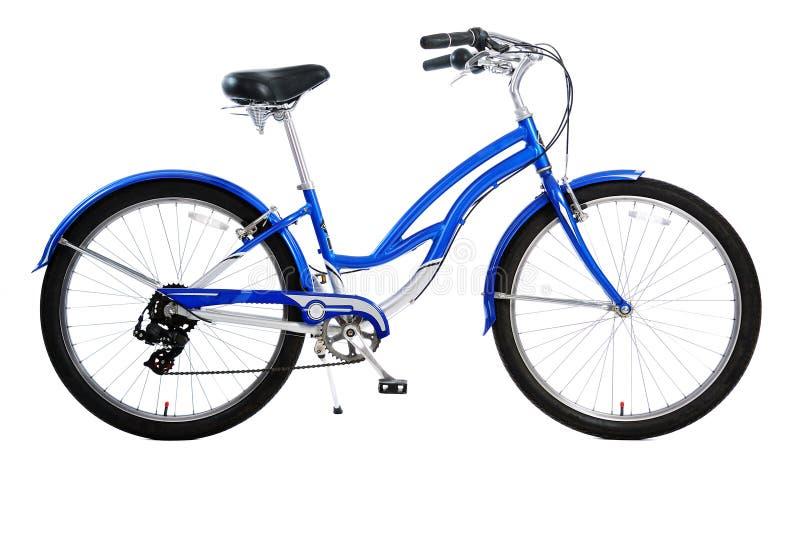 Bicycle isolated. Blue bicycle isolated on white background stock photo