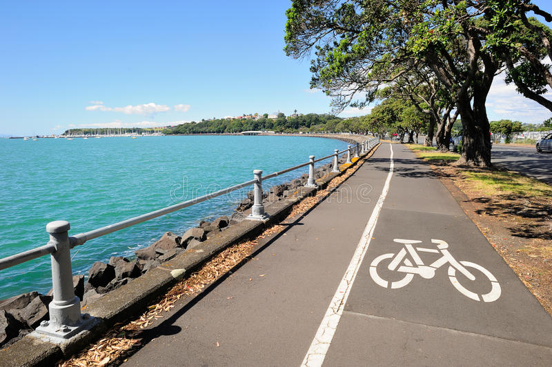 Bicycle lane in Auckland, New Zealand stock image