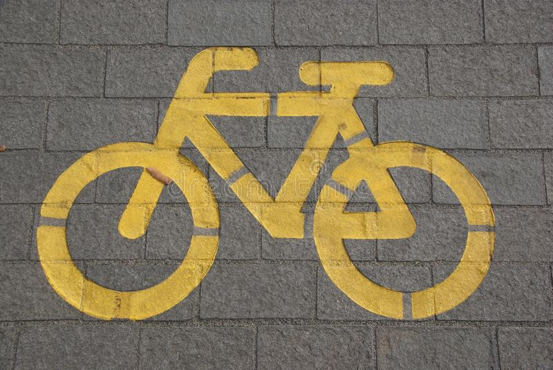 Bicycle Lane on Gray Concrete Road royalty free stock image