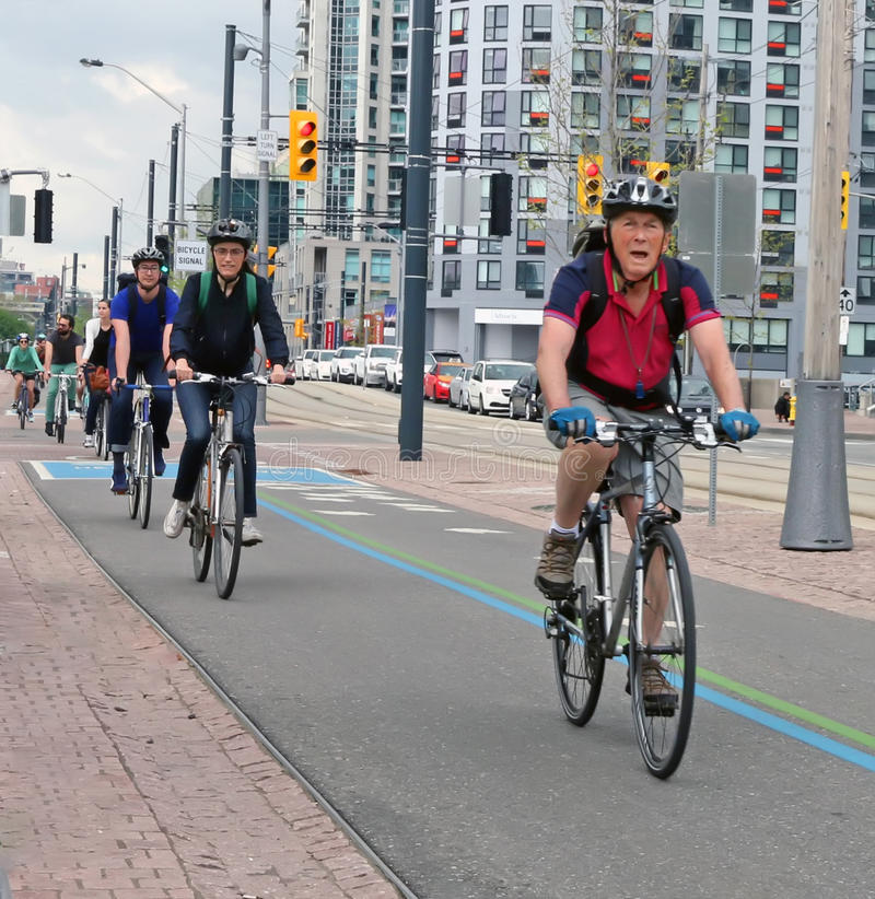 Bicycle Lane. A group of Cyclists use the bicycle lane in Toronto, Canada stock photo