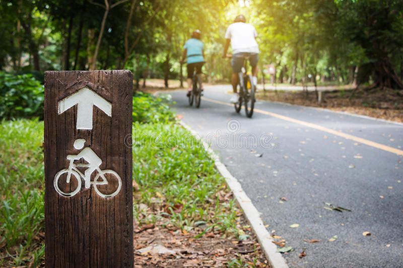 Bicycle Lane in public park. Bicycle sign, Bicycle Lane in public park royalty free stock photo