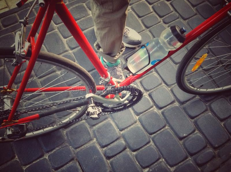 Bicycle and legs royalty free stock photos