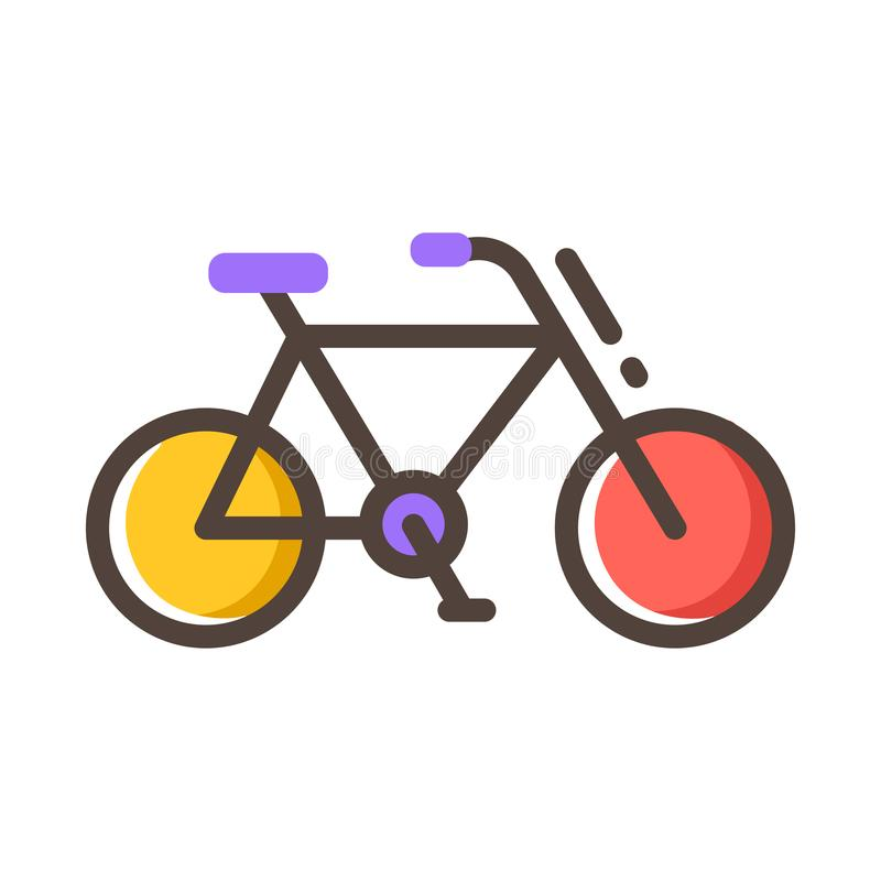 Bicycle Line Color Icon. Bicycle icon in line color design vector illustration royalty free illustration
