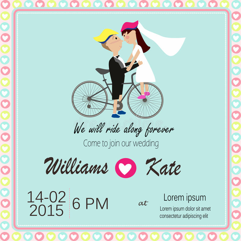 Bicycle lover couples wedding invitation stock illustration