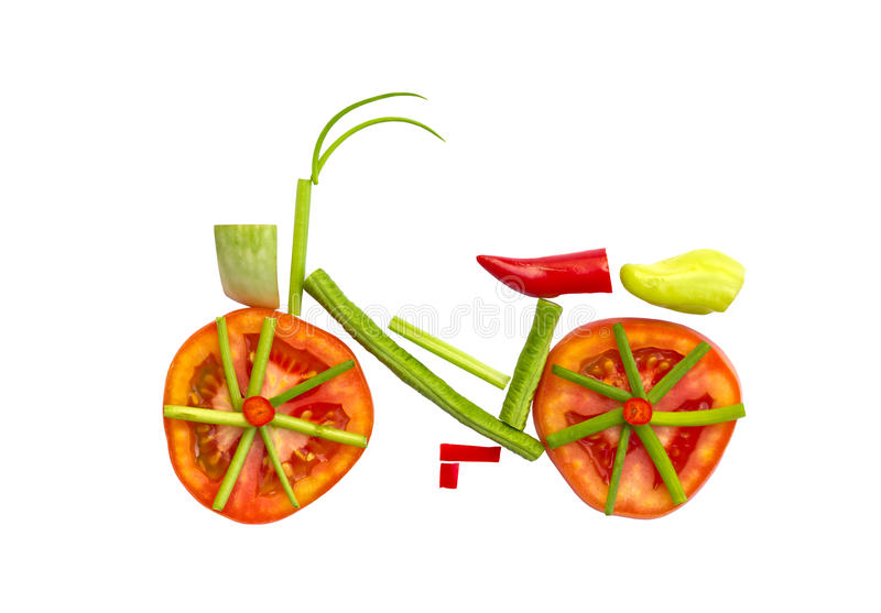 Bicycle made from vegetables . Bicycle made from vegetables for health stock photos
