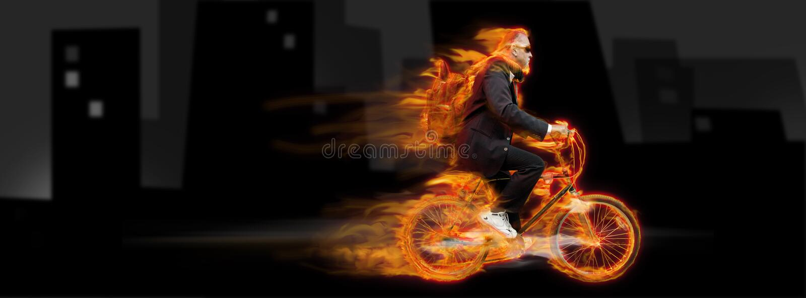 Bicycle man. A flaming bicycle carries a man with a backpack and in a business suite to his destination. Concept for being on the move