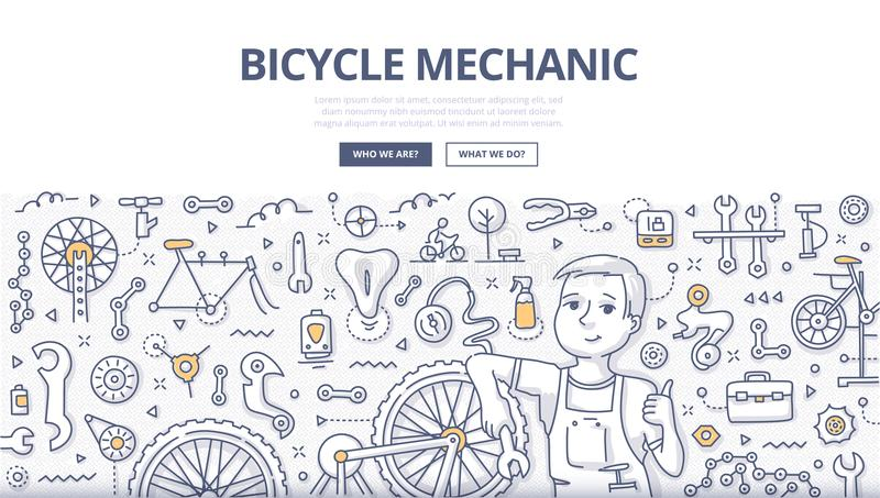 Bicycle Mechanic Doodle Concept. Doodle illustration of a mechanic repairing bicycle in a workshop. Bicycle repair shop concept for web banners, hero images vector illustration