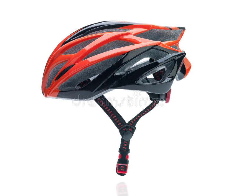 Bicycle mountain bike safety helmet. Isolated on white stock photo