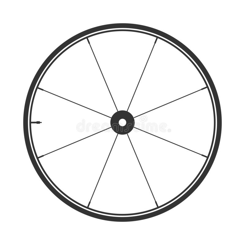Bicycle mtb wheel symbol,vector. Bike rubber, mountain tyre with valve. Fitness cycle,mountainbike. Bicycle mtb wheel symbol,vector. Bike rubber, mountain tyre royalty free illustration