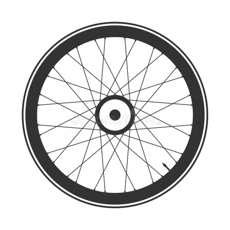 Bicycle mtb wheel symbol,vector. Bike rubber, mountain tyre with valve. Fitness cycle,mountainbike. Bicycle mtb wheel symbol,vector. Bike rubber, mountain tyre stock illustration