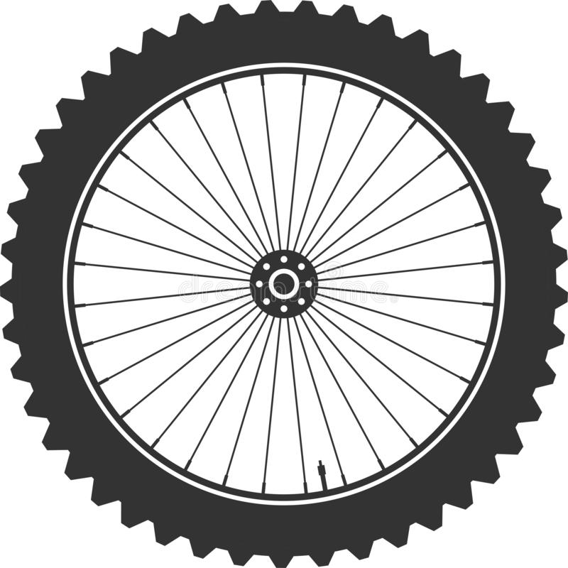 Bicycle mtb wheel symbol,vector. Bike rubber, mountain tyre with valve. Fitness cycle,mountainbike. Bicycle mtb wheel symbol,vector. Bike rubber, mountain tyre vector illustration