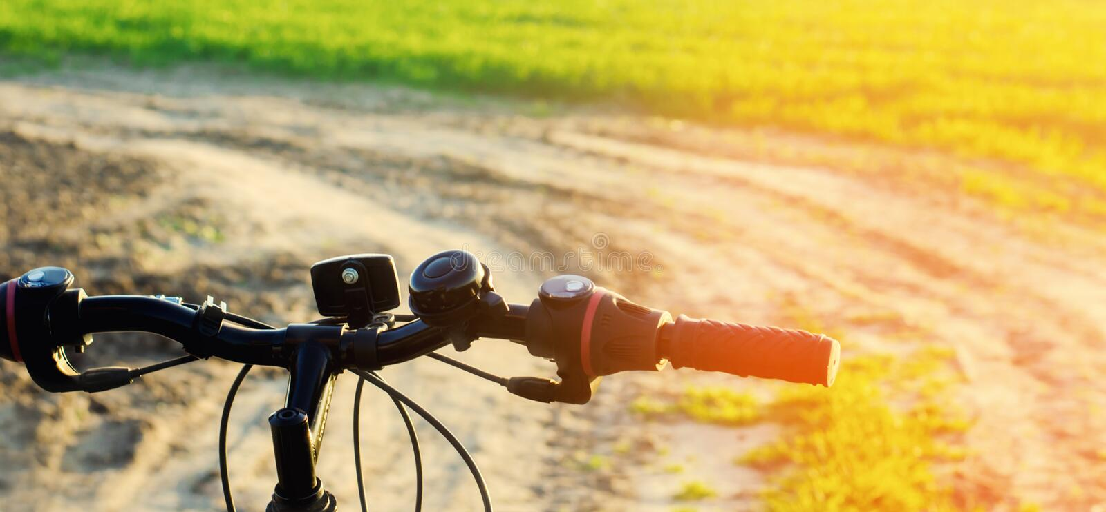 Bicycle on nature close up. Concept of travel, healthy lifestyle. Country walk. Bicycle frame.  stock photography