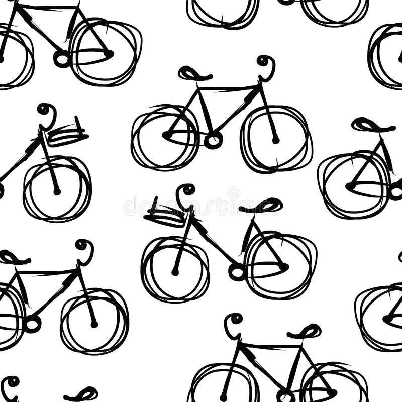 Bicycle o esboço, teste padrão sem emenda para seu projeto ilustração royalty free
