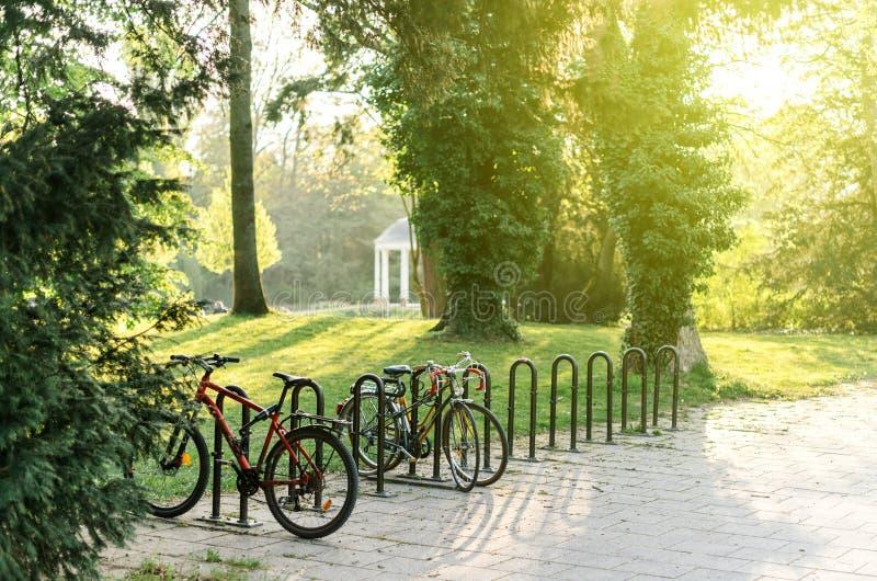 Bicycle o estacionamento no parque francês de Orangerie em Strasbourg fotografia de stock