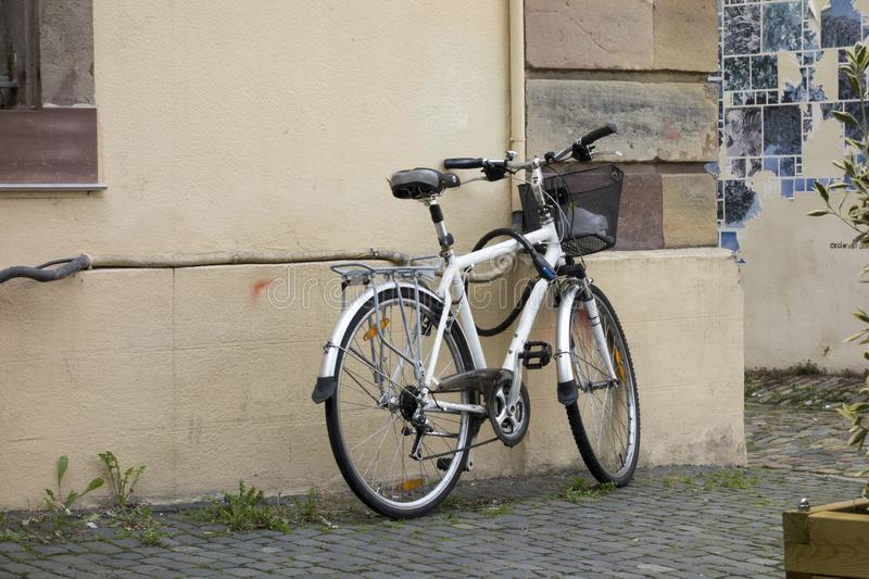 A bicycle parked. In the city of Strasbourg stock photography