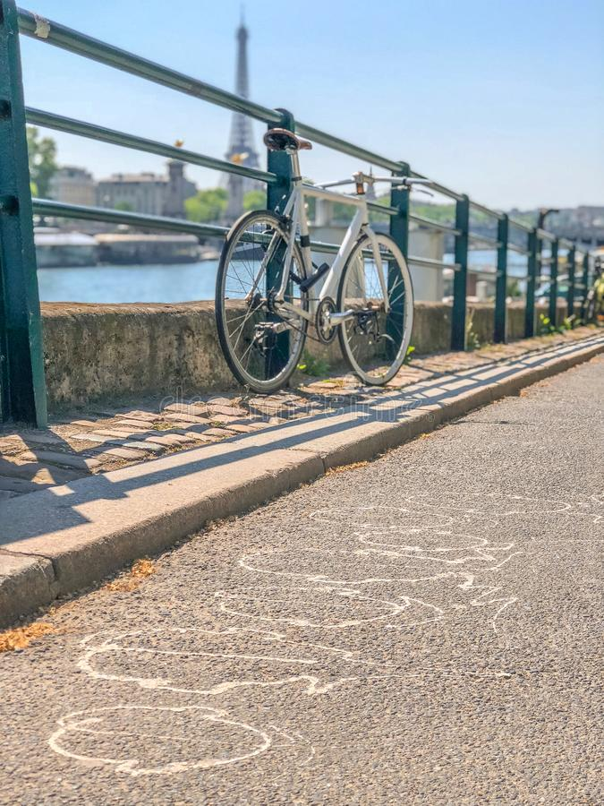 Bicycle parked close to the river in Paris stock images