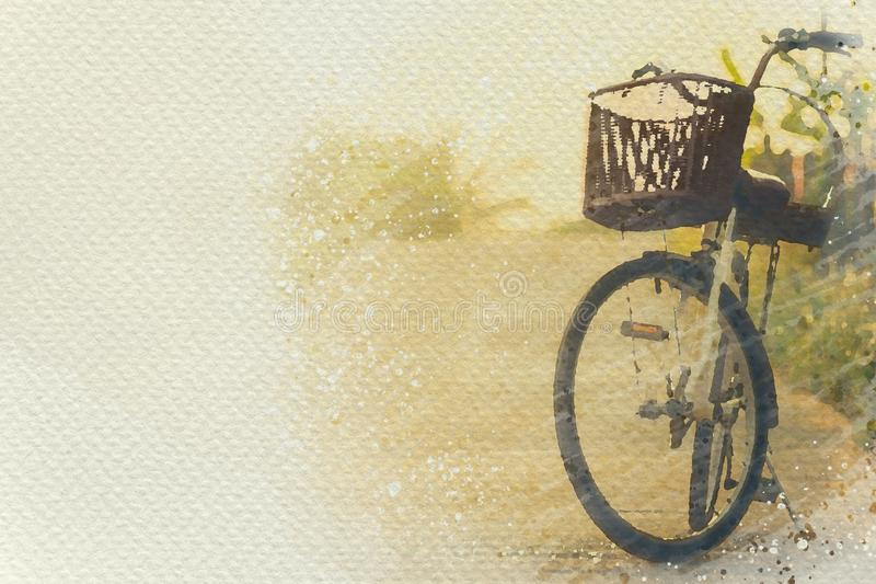 Bicycle parked on the wayside. Digital watercolor painting effect. Copy space for text royalty free stock photo