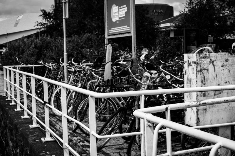 Bicycle parking at Adam Lookout. stock images