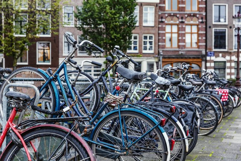 Bicycle parking in amsterdam. A popular eco-friendly mode of transport in the city. Horizontal stock images