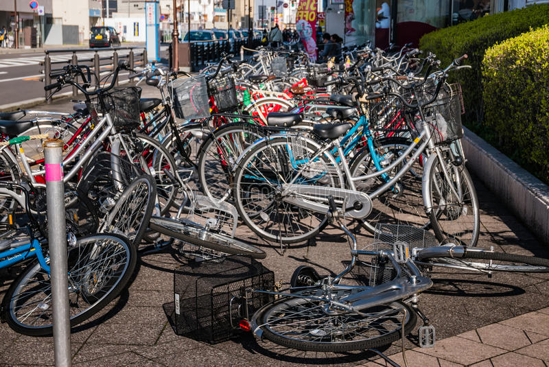 Bicycle parking in Hirosaki city royalty free stock images